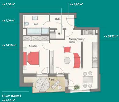 Квартира в Нюрнберге, Германия, 65.5 м2 - фото 1