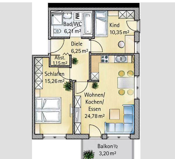 Квартира в Аугсбурге, Германия, 66 м2 - фото 1