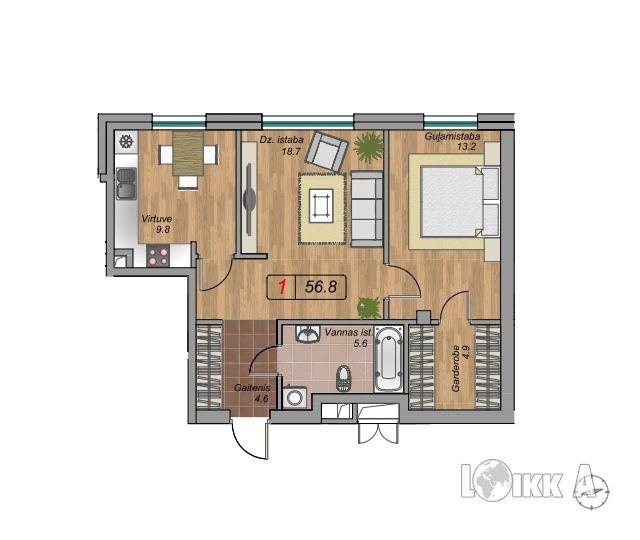 Квартира в Риге, Латвия, 56 м2 - фото 1