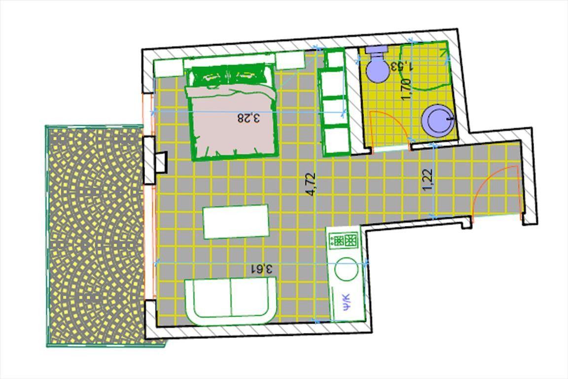 Квартира Халкидики-Кассандра, Греция, 22 м2 - фото 1