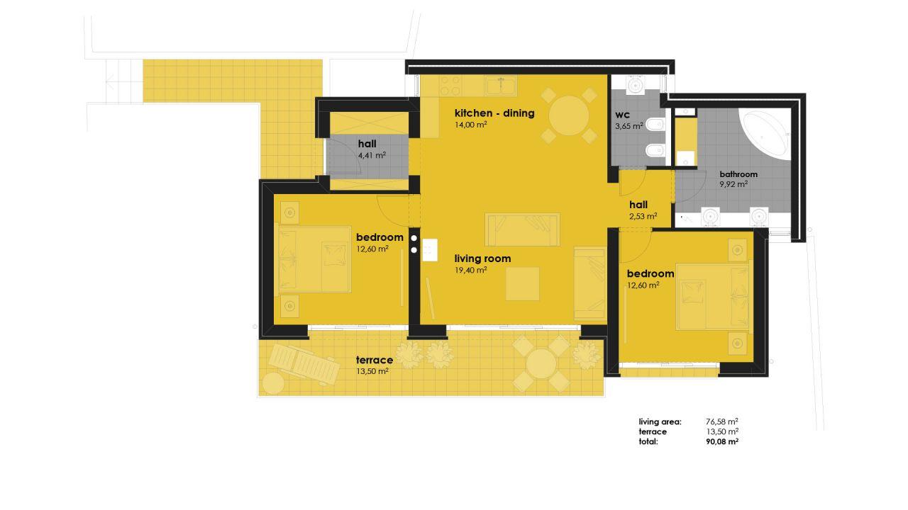 Апартаменты в Хевизе, Венгрия, 76.58 м2 - фото 1