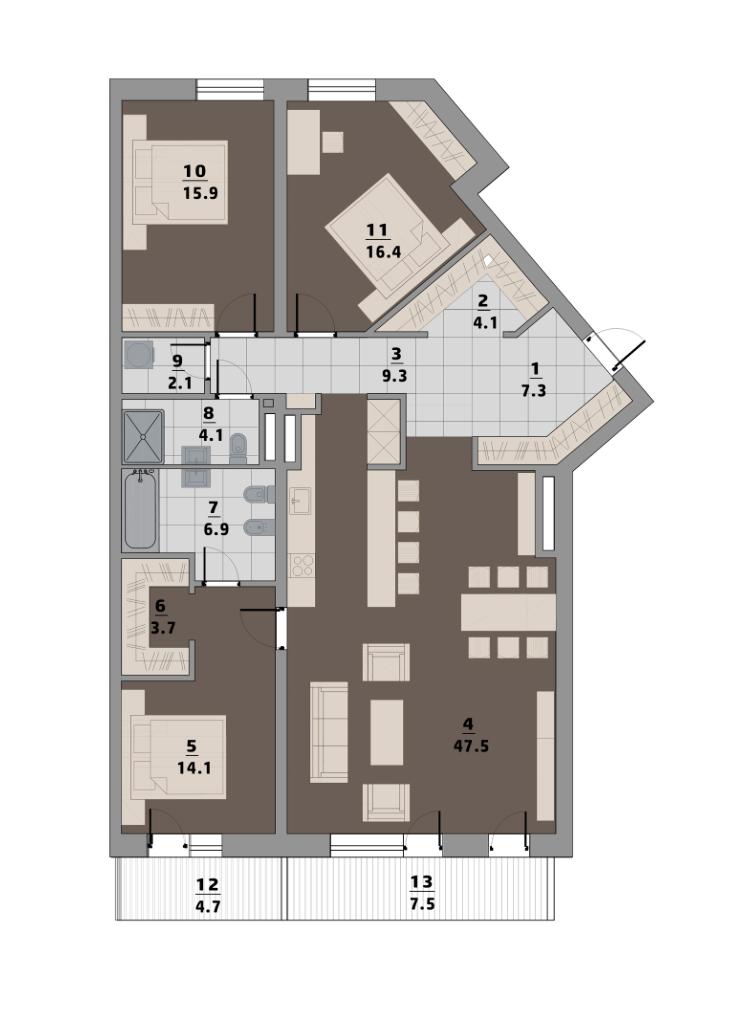 Апартаменты в Риге, Латвия, 144 м2 - фото 1